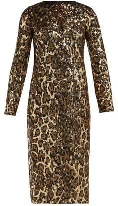 Dolce & Gabbana Leopard Print Sequinned Midi Dress - Womens - Leopard