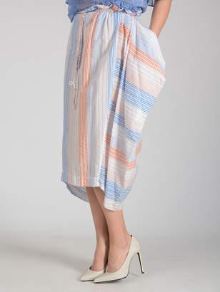 Stella McCartney (ステラ マッカートニー) - STELLA McCARTNEY デザインポケット ギャザースカート ストライプホワイト 38