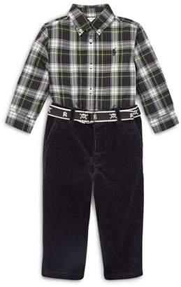 Ralph Lauren Boys' Plaid Shirt, Corduroy Pants & Skull-Print Belt Set - Baby