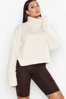 boohoo Plus Turtle Neck Teddy Sweater