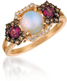 Levian 0.27TCW Diamonds, Rhodolite, Opal and 14K Rose Gold Chocolatier Ring $1,950 thestylecure.com