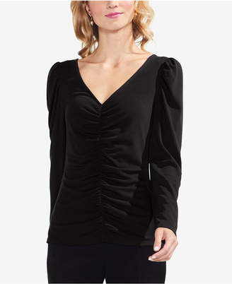 Vince Camuto Ruched Puff-Shoulder Top