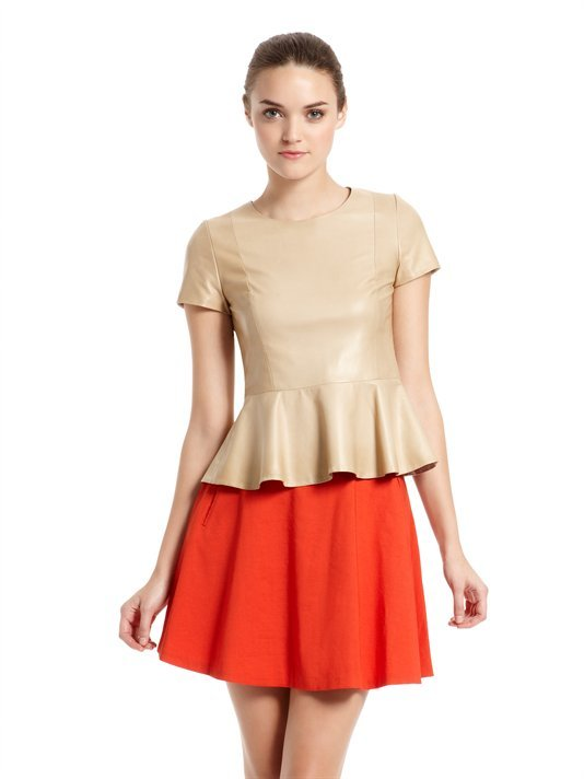 DKNY Leather Blouse With Peplum