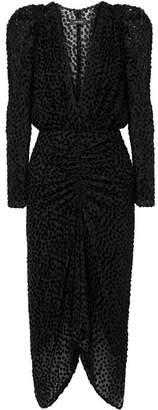 Isabel Marant Maray Ruched Devoré-velvet And Tulle Dress - Black
