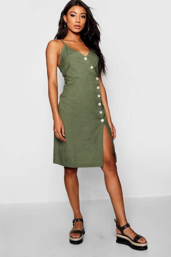 boohoo Lucia Strappy Button Front Midi Dress