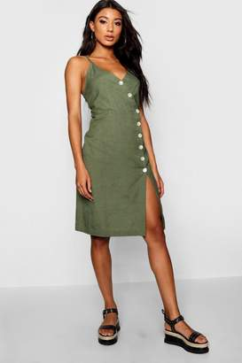 boohoo Lucia Strappy Button Front Midi Dress