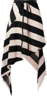 Marques Almeida Marques' Almeida - Asymmetric Striped Cotton And Silk-blend Gauze Midi Skirt - Black