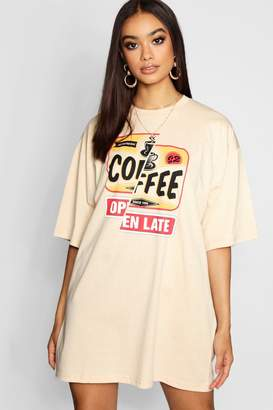 boohoo Coffee Shop Oversized T-Shirt Dress