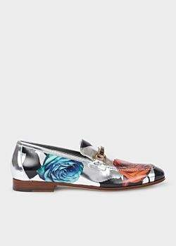 Paul Smith Women's Silver 'Rose' Print Leather 'Grover' Loafers