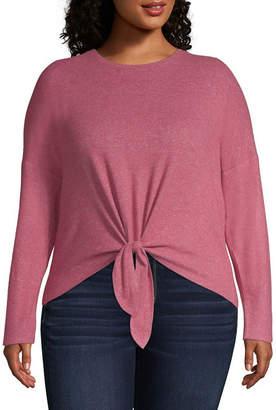 Arizona Long Sleeve Round Neck Knit Blouse-Juniors Plus