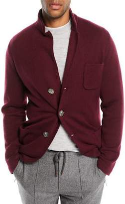 Brunello Cucinelli Men's Cashmere Button-Front Knit Cardigan Jacket
