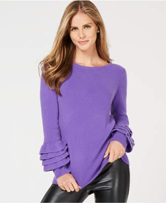 Charter Club Ruffle-Sleeve Pure Cashmere Sweater