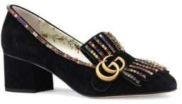 Gucci Marmont Suede Mid-Heel Pumps With Crystals