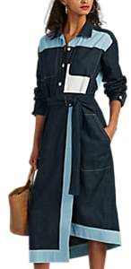 Colovos Women's Cotton Chambray Belted Shirtdress - Blue