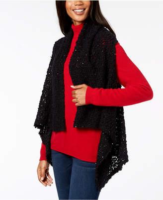 INC International Concepts I.n.c. Draped Popcorn-Knit Vest