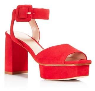 Stuart Weitzman Women's Newdeal Suede Platform Ankle Strap Sandals