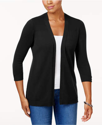 Karen Scott Petite Ribbed-Detail Open-Front Cardigan, Created for Macy's
