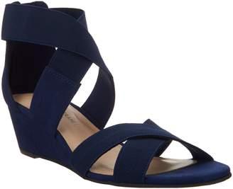 Isaac Mizrahi Live! Double Strap Wedge Open Toe Sandal