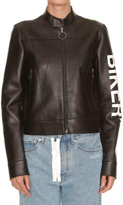 Off-White Off White Leather Silhouette Biker Jacket