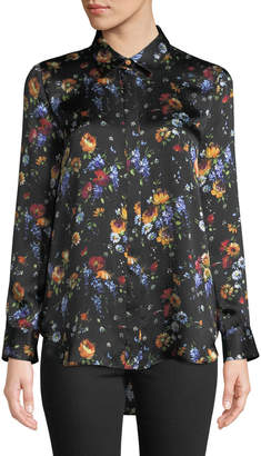 ADAM by Adam Lippes Long-Sleeve Button-Down Floral-Print Hammered Silk Shirt