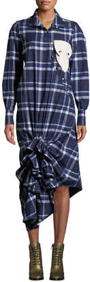 Victoria / Tomas Plaid Ruffle Snap-Front Shirtdress with Pocket Detail