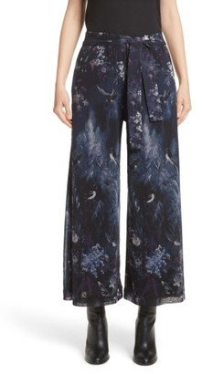 Women's Fuzzi Floral Print Tulle Belted Karate Pants $495 thestylecure.com
