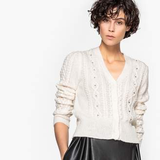 MADEMOISELLE R Beaded Cable Knit Cardigan