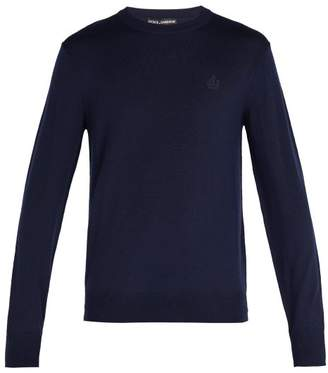Dolce & Gabbana Crown Embroidered Wool Sweater - Mens - Navy