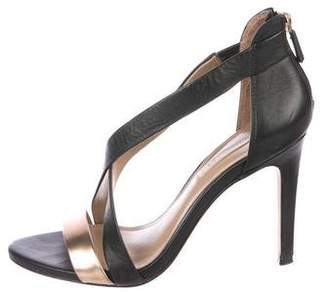 BCBGMAXAZRIA Leather Cross Strap Sandals
