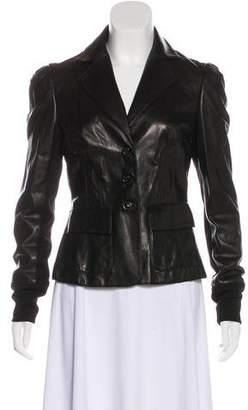 Diane von Furstenberg Notch-Lapel Leather Jacket