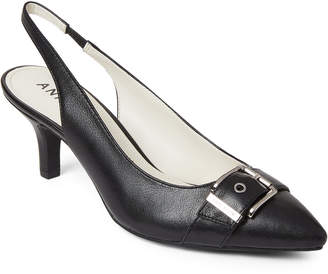 Anne Klein Black Fenris Slingback Pumps