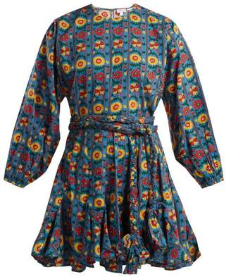 Rhode Resort - Ella Floral Print Cotton Dress - Womens - Blue Print