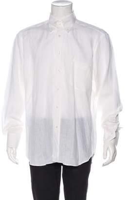 Loro Piana Solid Linen Dress Shirt