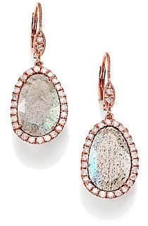 Meira T Women's Labradorite, Diamond & 14K Rose Gold Leverback Drop Earrings