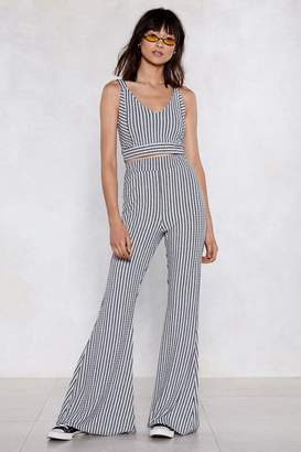 Nasty Gal Lines Like These Striped Crop Top and Pants Set