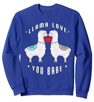 Llama Love You Babe Sweetheart Kissing Sweatshirt Gift