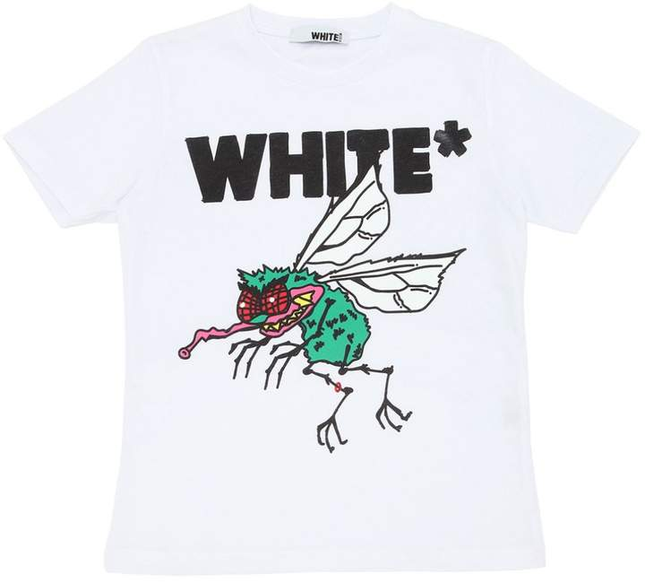 White Fly Printed Cotton Jersey T-Shirt