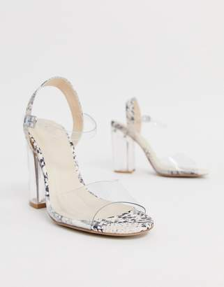 Qupid clear strap block heeled sandals in snake