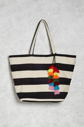 FOREVER 21+ Striped Tasseled Tote Bag $24.90 thestylecure.com