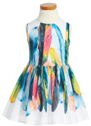 Girl's Halabaloo Feather Graphic Fit & Flare Dress $96 thestylecure.com