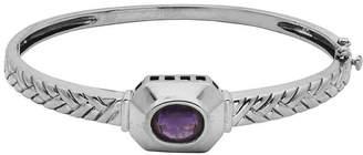 FINE JEWELRY Genuine Brazilian Amethyst Oxidized Sterling Silver Bangle Bracelet