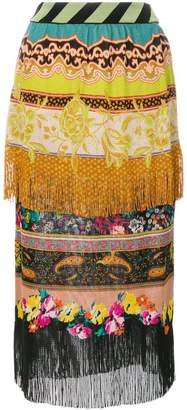 Etro fringed mixed print skirt