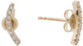 Made In Spain 14k Gold Diamond Curved Bar Earrings