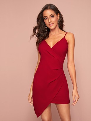 Shein Solid Asymmetrical Hem Wrap Slip Bodycon Dress