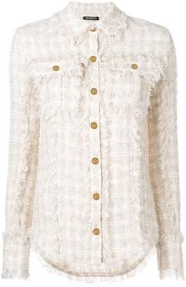 Balmain fringed tweed shirt