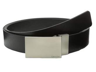 Calvin Klein 32MM Reversible Flat Strap Plaque Buckle w/ Logo