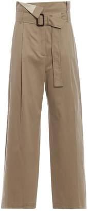 Max Mara Ebro Beige Cotton Drill Wide Leg Trousers