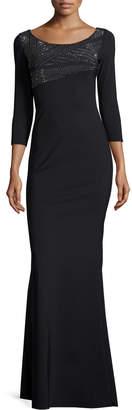Chiara Boni Lasa 3/4-Sleeve Embellished Jersey Gown, Nero