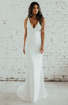 Katie May Noel And Jean By Paloma Plunge Back Trumpet Gown