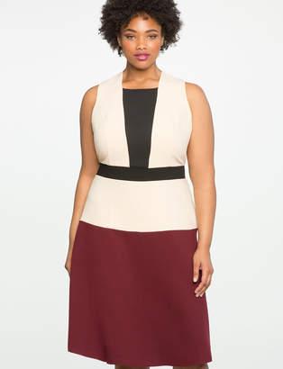 ELOQUII Colorblock Dress with Mesh Insert